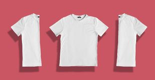 White t-shirt with blank space for your promotional text or advertisment. Textile, design, clothing, template and fashion concept. Royalty Free Stock Photos
