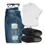 White t-shirt, blue boyfriend jeans, glasses and black textile s Stock Photo