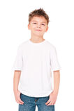 T-shirt on boy. White T-shirt on a cute boy, isolated on white background Stock Images