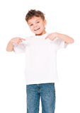 T-shirt on boy. White T-shirt on a cute boy, isolated on white background Stock Photo
