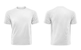 White T-shirt design template isolated on white background. Front and back view Stock Photos