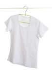 White t-shirt on hanger. Royalty Free Stock Photo