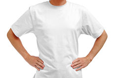 White t-shirt on man Royalty Free Stock Photography