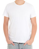 White t-shirt on a man isolated stock photos