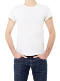 White t-shirt on man Stock Photography