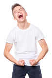 White t-shirt on teen boy Stock Images