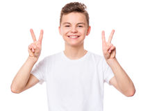 White t-shirt on teen boy Stock Image