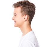 White t-shirt on teen boy Royalty Free Stock Images