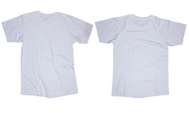 White T-Shirt Template. Wrinkled blank white t-shirt template, front and back design isolated on white royalty free stock photography