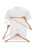 White t-shirt and wooden hangers isolated on white Stock Photography