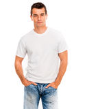 White t shirt on a young man Royalty Free Stock Image