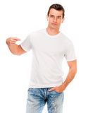 White t shirt on a young man Stock Photo