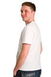 White T-shirt on a young man Stock Photography