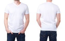 White t shirt on a young man template Stock Photo
