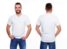 White t shirt on a young man template. On white background royalty free stock image