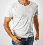 White t-shirt on a young man template Royalty Free Stock Photos
