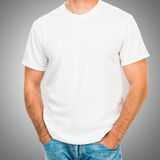White t shirt on a young man Stock Photos