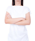 White t-shirt on a young woman. Royalty Free Stock Photos