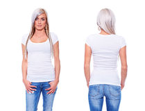 White t shirt on a young woman template. On white background royalty free stock photography