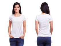 White t shirt on a young woman template royalty free stock photo