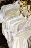 White T-Shirts Hanging. For Sale In The Market Royalty Free Stock Photo