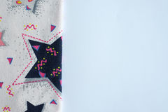 White table background with textile. Copy space for text.  Stock Photography