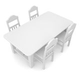 White table and chairs. Isolated render on a white background Stock Image