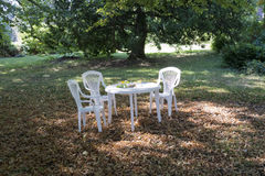 White table and chairs Royalty Free Stock Image