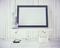 White table with empty frame vector illustration