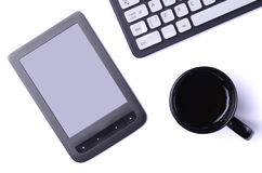 White table with gadgets: keyboard, tablet, top view with copy s Stock Photos