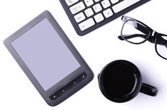 White table with gadgets: keyboard, tablet, top view with copy s Stock Images