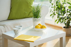 White table in living room Stock Photo