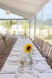 White Table Setting with Sunflowers, Event Party and Wedding Stock Image
