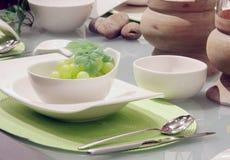 White table settings Stock Photo