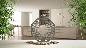 White table shelf with bagua, pebble stone and bamboo plants, modern white and wooden kitchen with island and stools, zen concept. Interior design, feng shui vector illustration