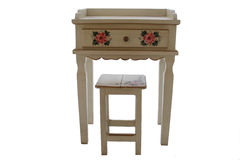 A White Table And Stool Rustic. A white end table with a white stool Stock Photo
