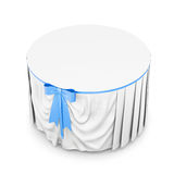 White tablecloth with blue bow  on white background. 3d Royalty Free Stock Image
