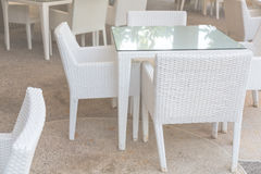 White tables and chairs Royalty Free Stock Photography