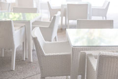 White tables and chairs Stock Image
