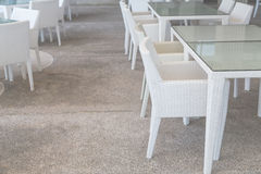 White tables and chairs Royalty Free Stock Photo