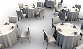White tables Stock Images