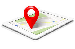 White tablet with abstract map and red marker on screen Stock Photos