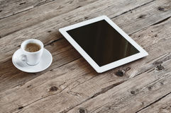 White tablet computer with cup coffe Stock Photo