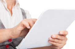 White tablet in the hands Stock Photography