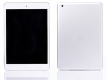 White tablet isolated. Back and front view of modern tablet Stock Photography
