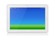 White Tablet PC. Vector. Horizontal. Copy Space. White glossy tablet personal computer in horizontal orientation of display. Green grass and blue sky as screen royalty free illustration