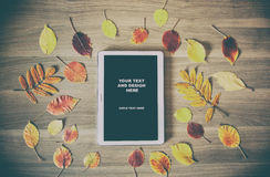 White tablet on a wooden table with colorful autumn leaves, Stock Images