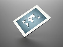 White tablet with world map blue Stock Photos