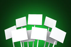 White tablets on green background. White 3D posters on green background stock illustration