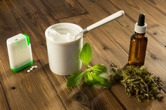 White tablets of stevia. White tablets and green leaves of natural sweetener stevia Stock Photography